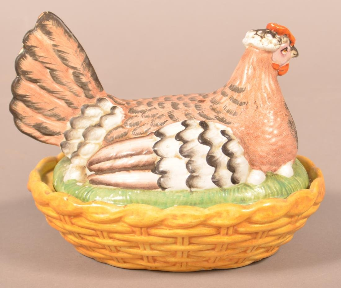 19th Century Staffordshire China Hen on Nest. - 2