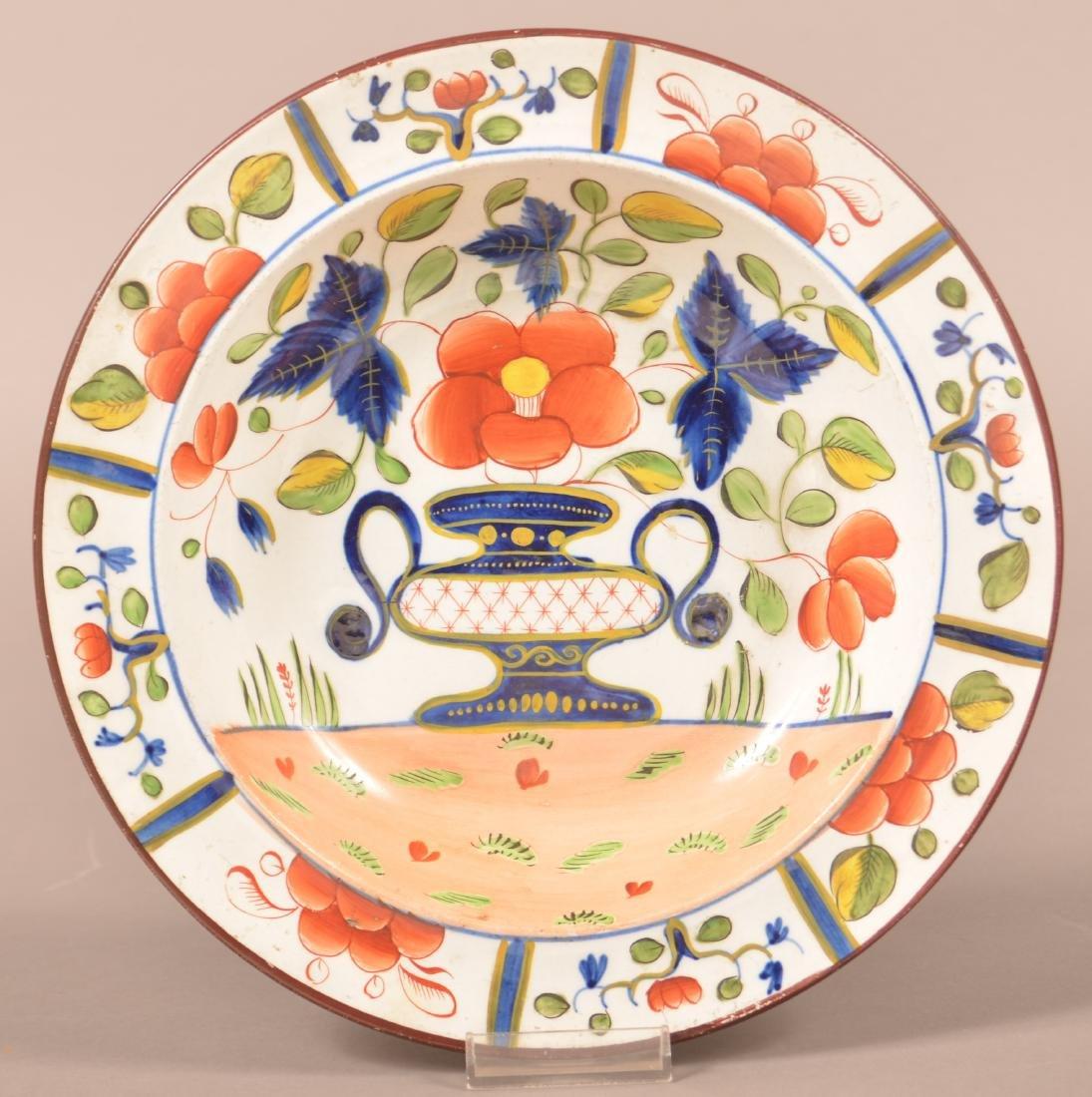 Gaudy Dutch China Urn Pattern Soup Plate.