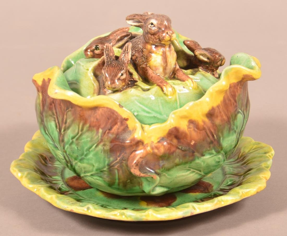 Eureka Majolica Rabbits in Cabbage Covered Bowl.