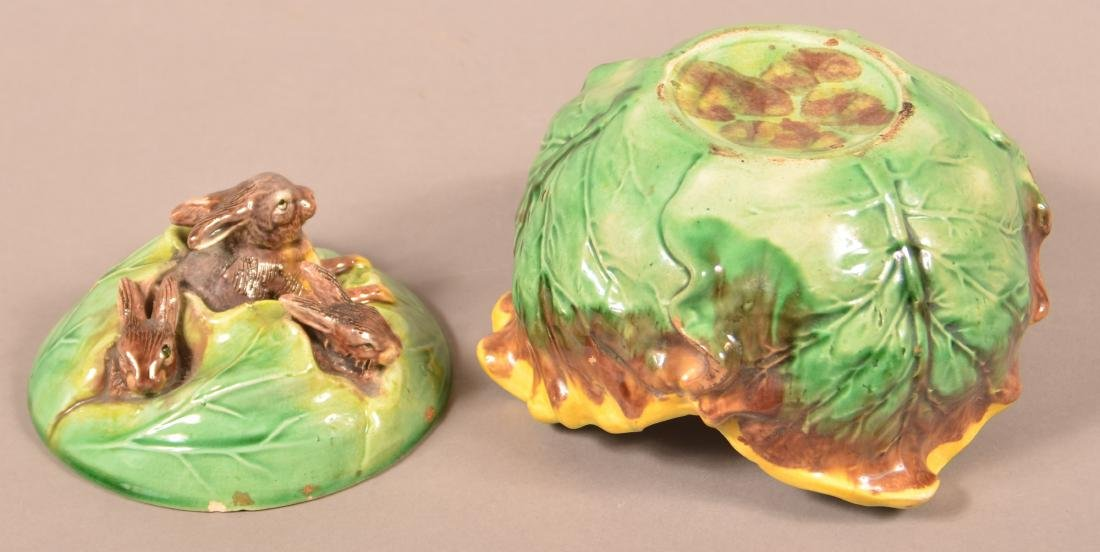 Eureka Majolica Rabbits in Cabbage Covered Bowl. - 5