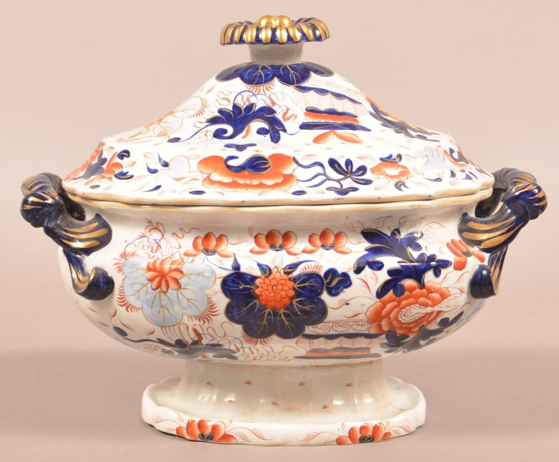 Gaudy Welsh Water Lily Covered Soup Tureen.