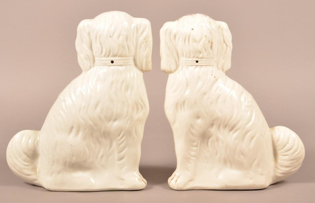 Pair of Staffordshire China Seated Spaniel Figures. - 2