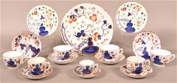 17 Pieces of Gaudy Welsh Oyster Pattern China.