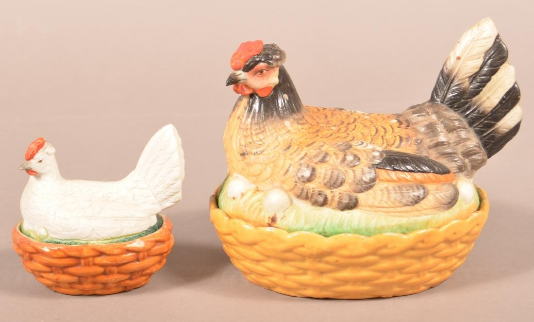 2 Bisque Porcelain Hen on Nest Covered Dishes.