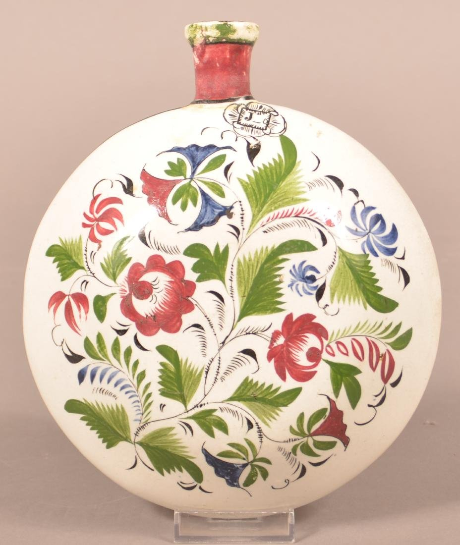 Rare Staffordshire China Early Adams Rose Flask.
