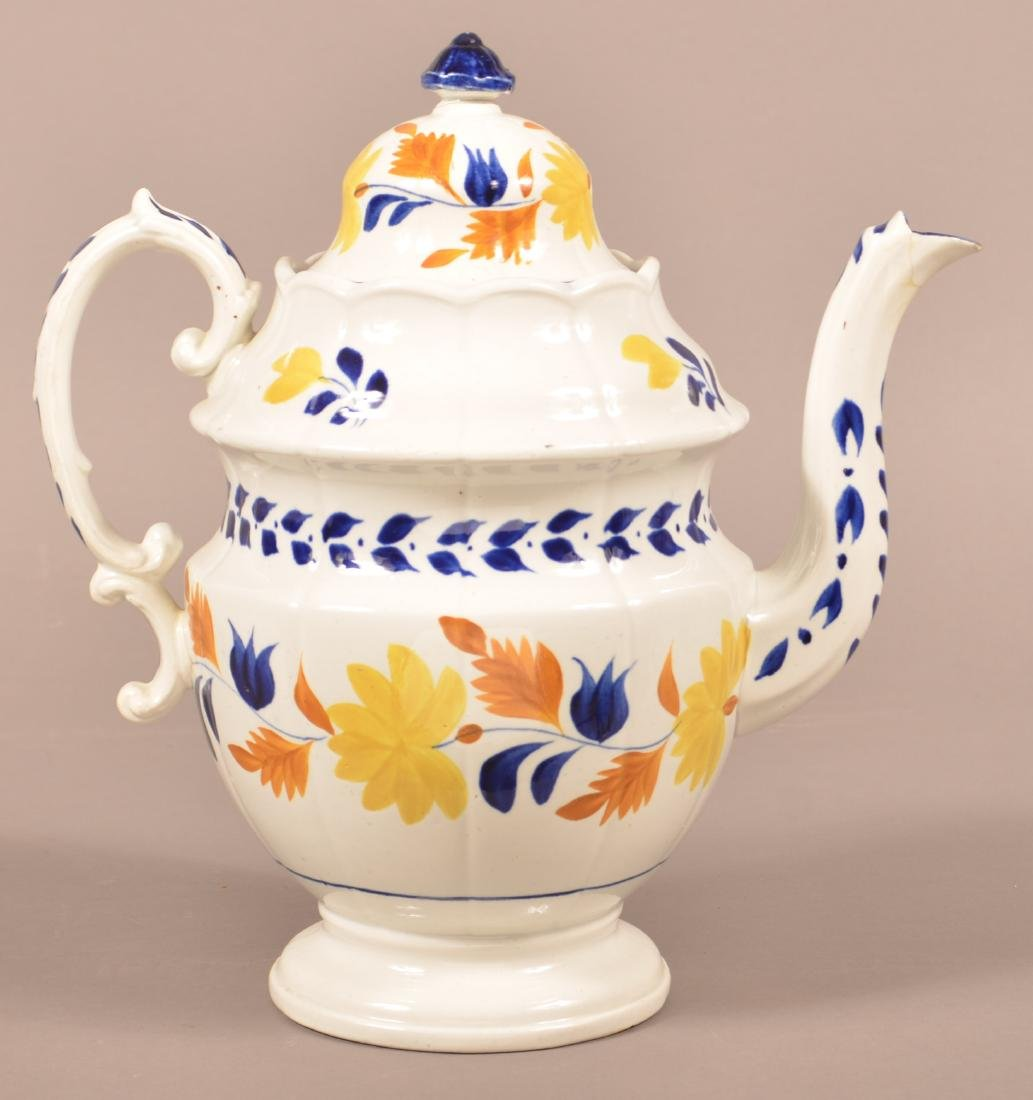 Staffordshire China Hand Decorated Coffee Pot.