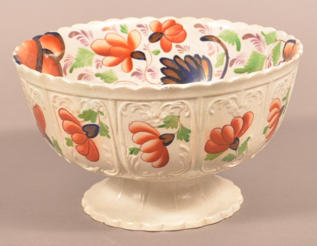 Large Gaudy Welsh Grape Pattern China Compote.