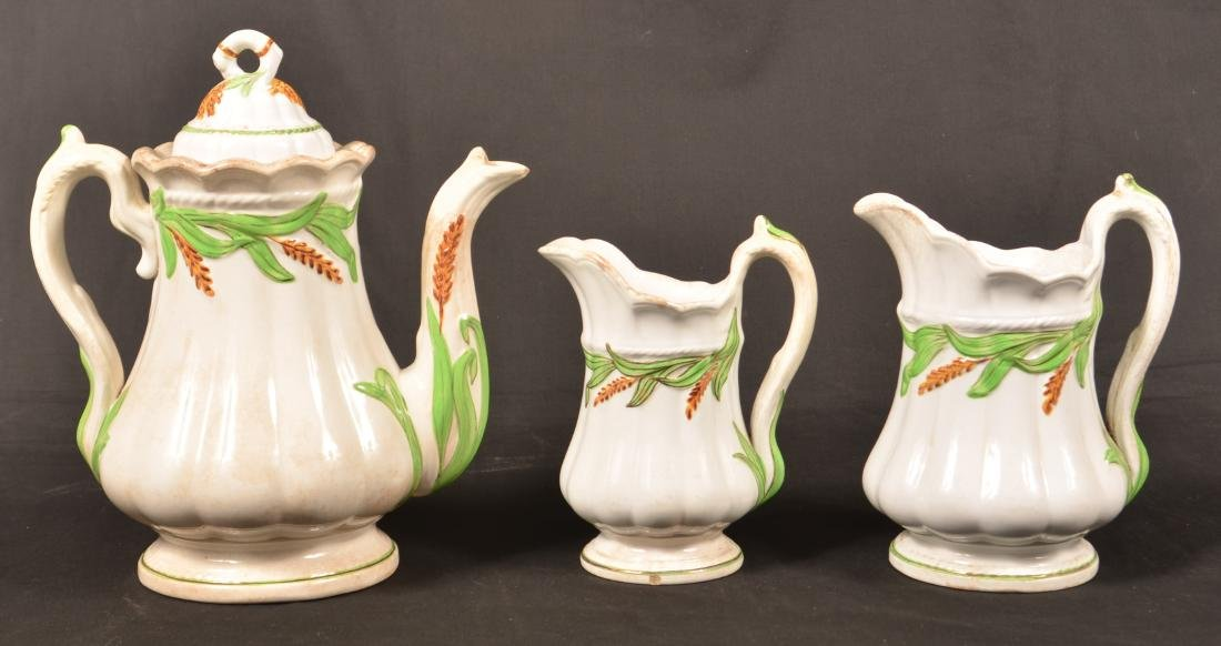 3 Pieces of White Ironstone Green Wheat China.