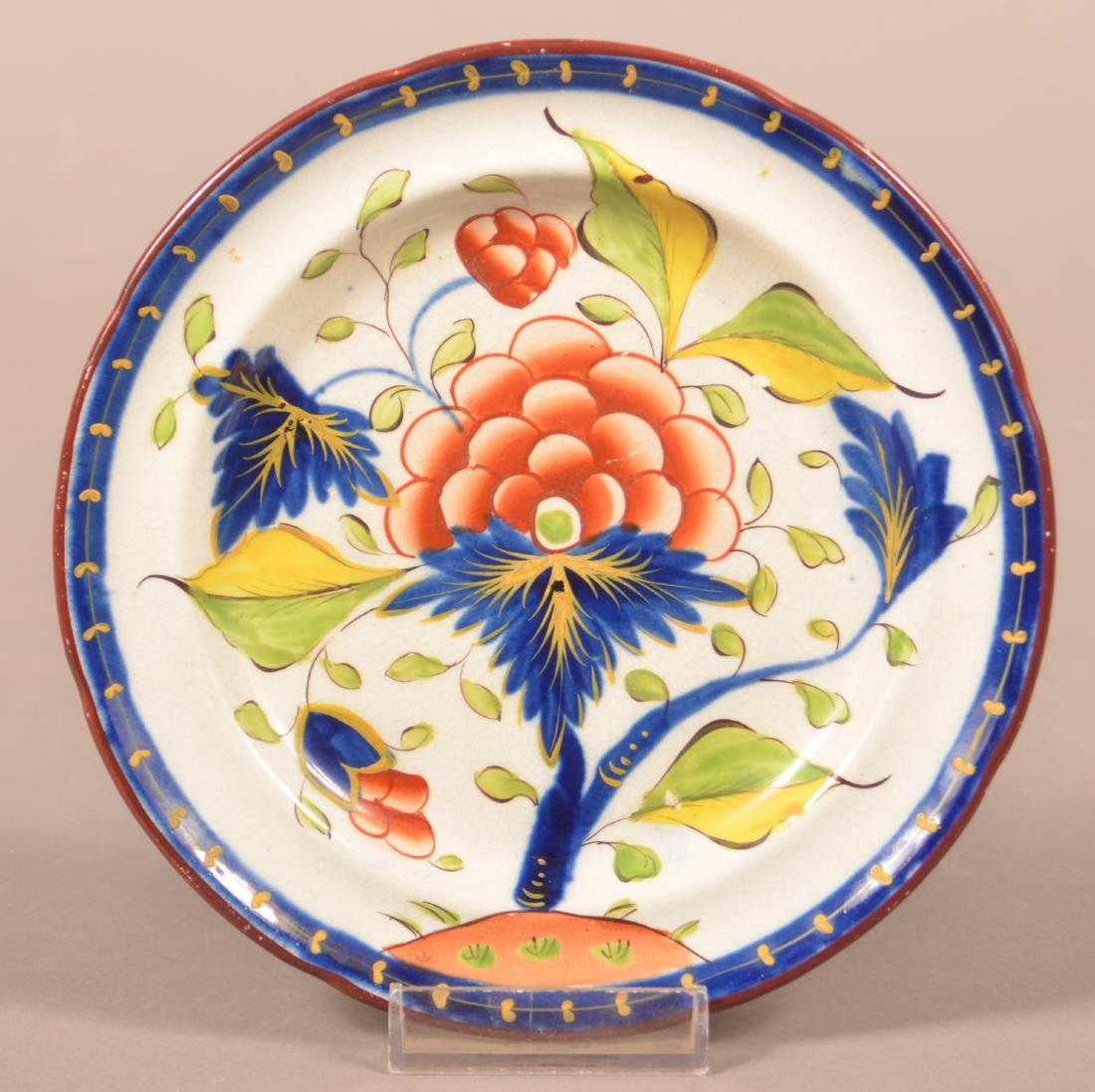 Gaudy Dutch China Grape Pattern Toddy Plate.
