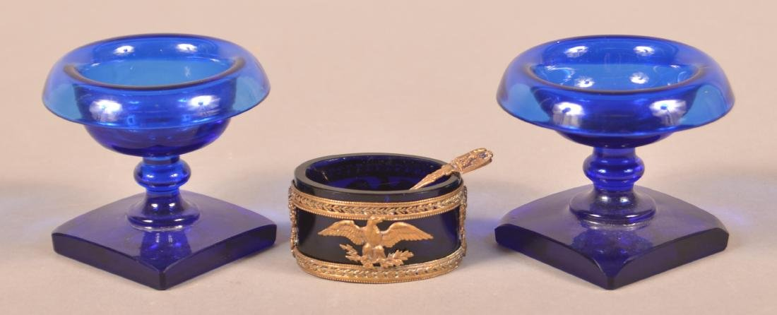 Three 19th Century Cobalt Glass Salts. - 2