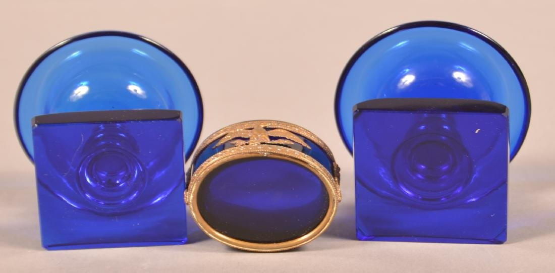 Three 19th Century Cobalt Glass Salts. - 3