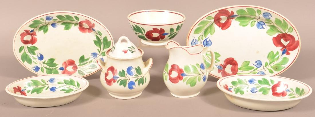 Seven Pieces of Late Adams Rose Ironstone China.