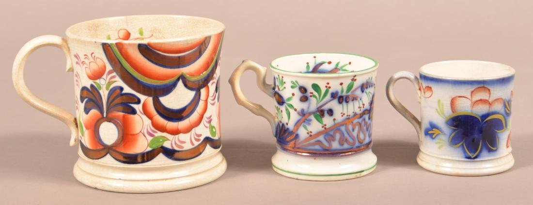 Three Various Gaudy Welsh China Mugs.
