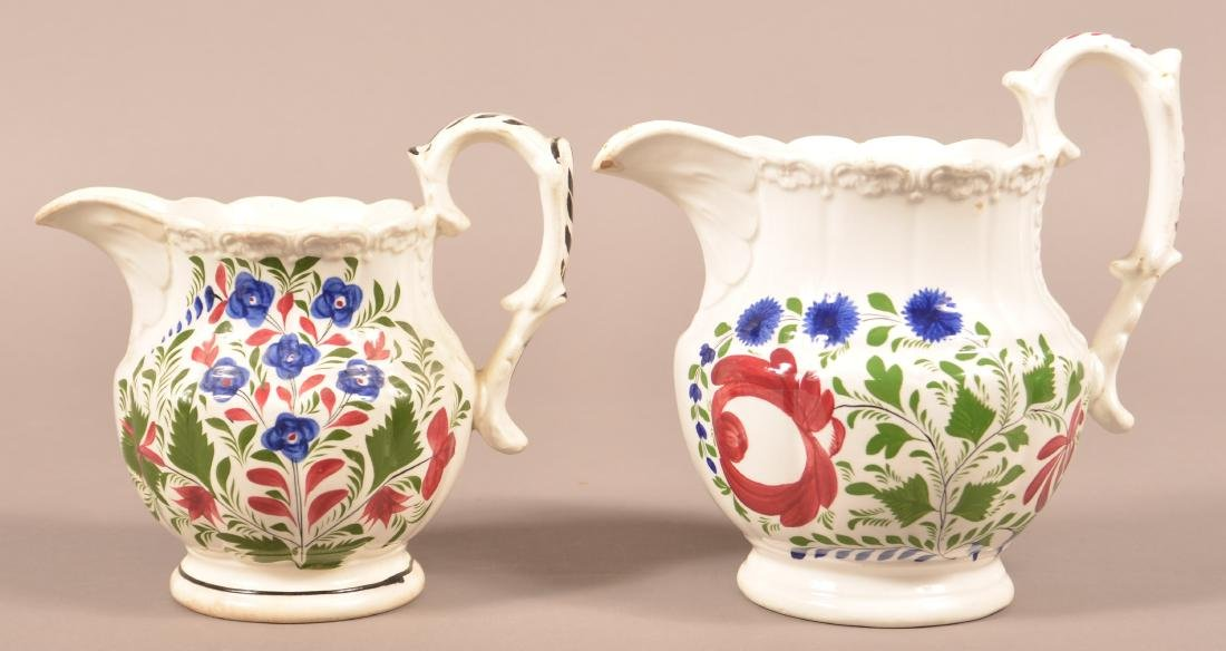 Two Various Staffordshire China Pitchers.