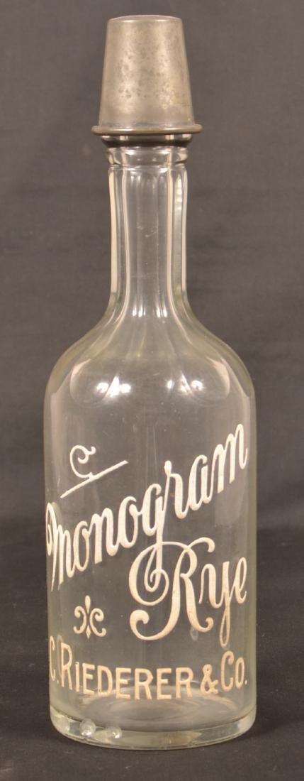 """""""Monogram Rye C. Riederer & Co."""" Bottle."""