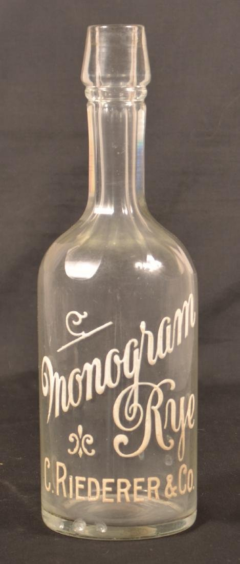 """""""Monogram Rye C. Riederer & Co."""" Bottle. - 2"""