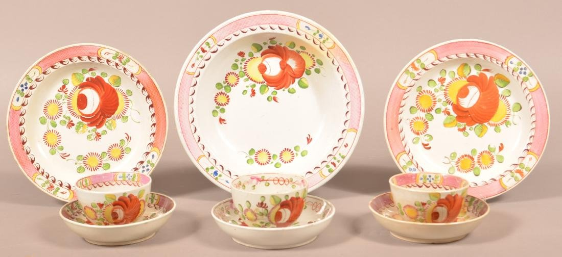 Nine Pieces of Kings Rose Soft Paste China.