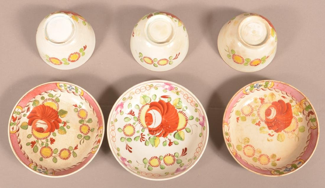 Nine Pieces of Kings Rose Soft Paste China. - 2