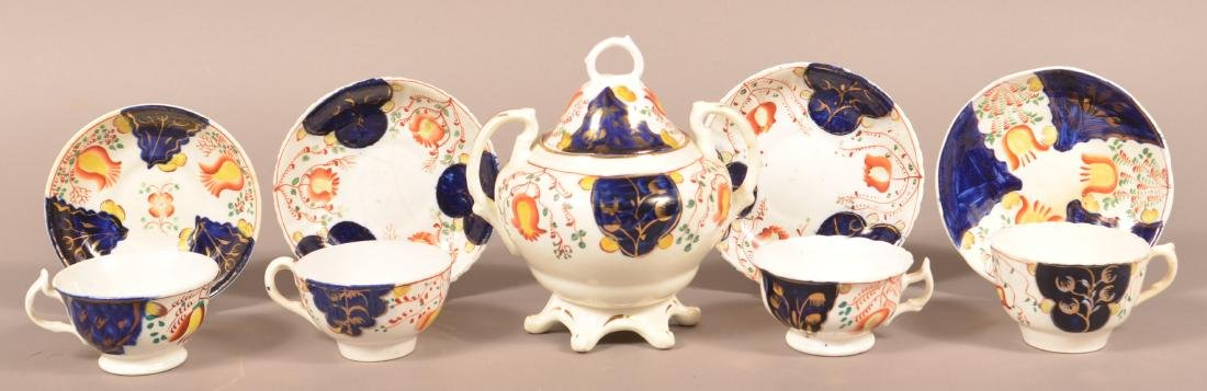 Lot of Gaudy Welsh Tulip Pattern China.