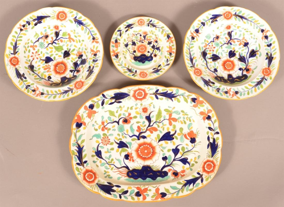 Four Pieces of Gaudy Floral Decorated Porcelain.