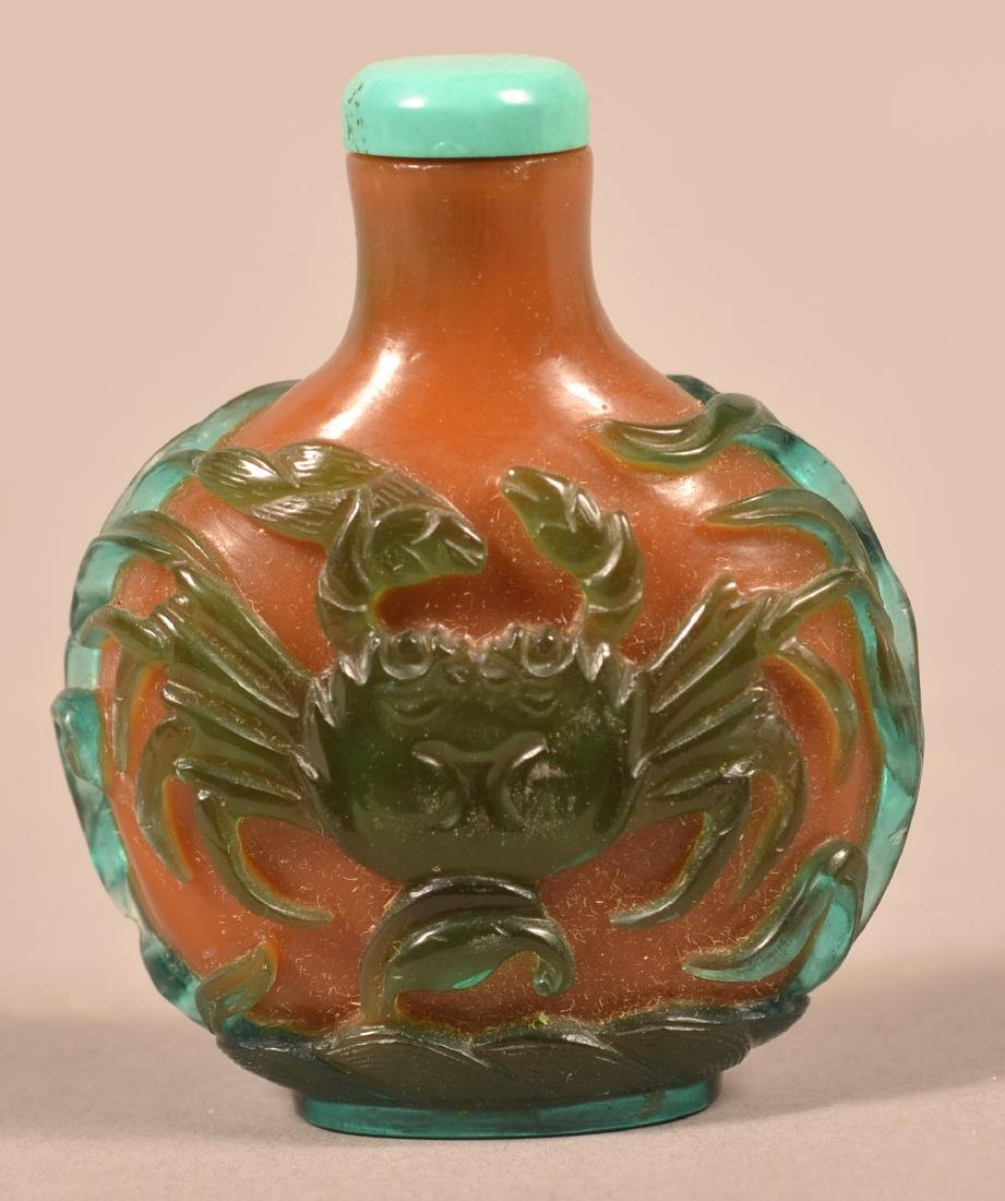 Green & Amber Colored Peking Glass Snuff Bottle. - 2