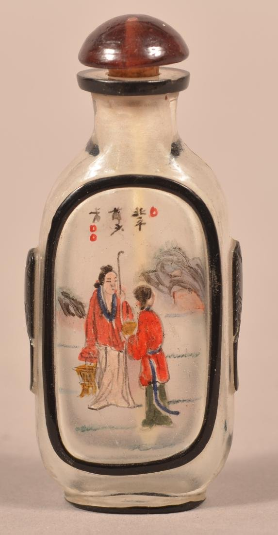 Antique Reverse Painted Peking Glass Snuff Bottle.