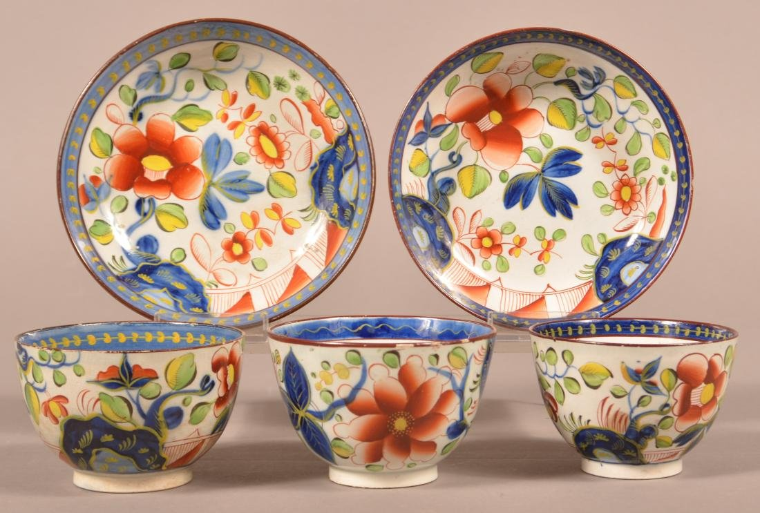 Gaudy Dutch Single Rose Pattern Cups & Saucers.