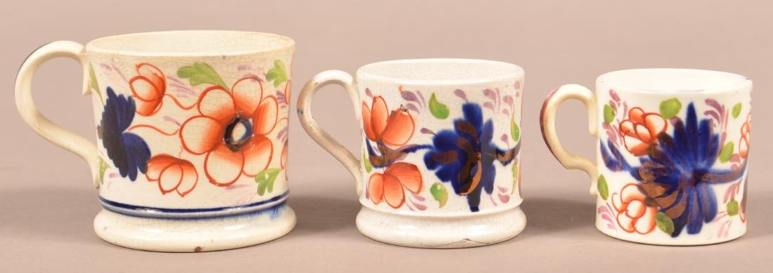 Three Various Gaudy Welsh Child's Size Mugs.