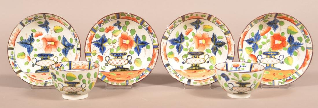 Gaudy Dutch China Urn Pattern Cups and Saucers.
