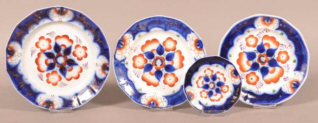 4 Gaudy Ironstone China Pinwheel Pattern Plates.