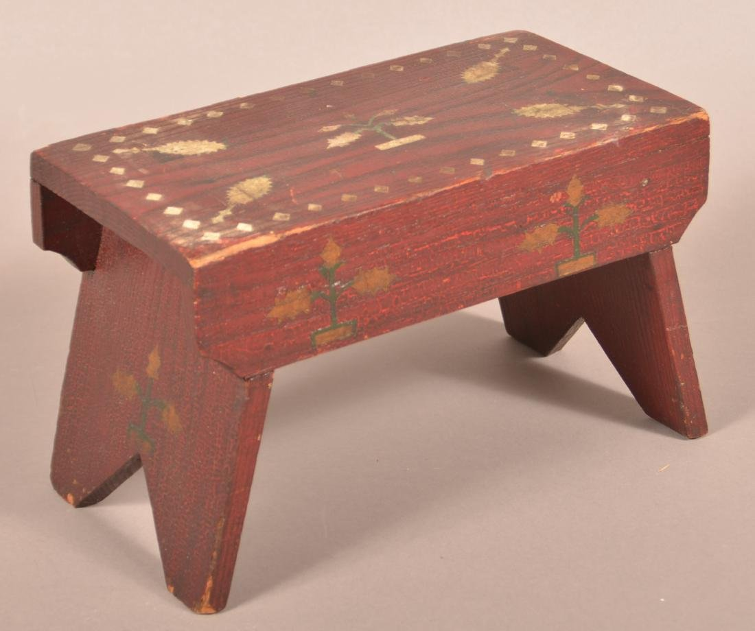 Antique PA Red Painted Wood Small Footstool.