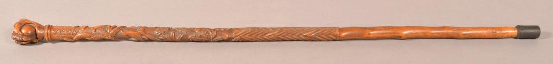 """PA Carved Folk Art Cane Signed """"G. Astle, 1903"""". - 5"""