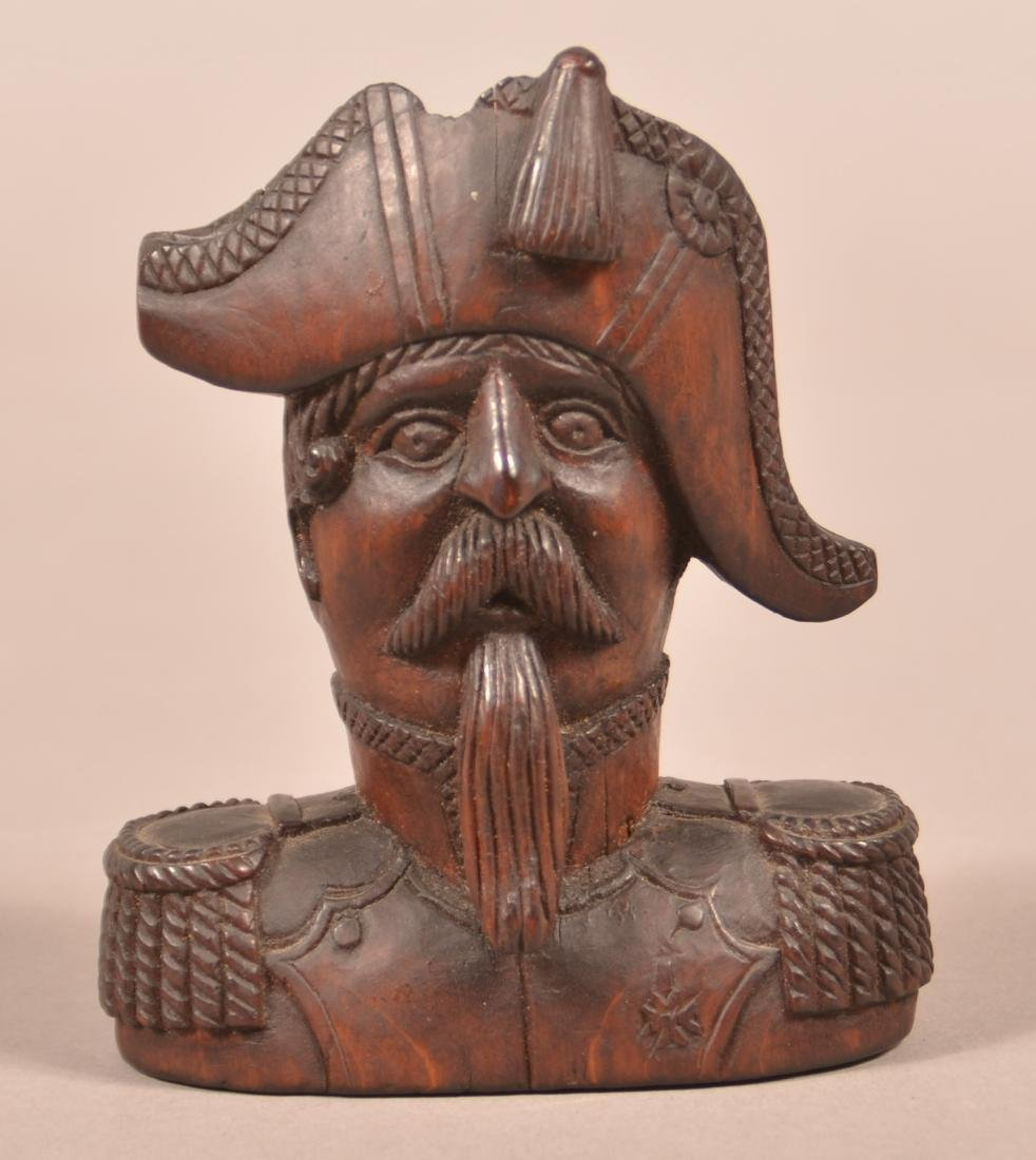 Folk Art Carved Wood Bust of a Naval Admiral.