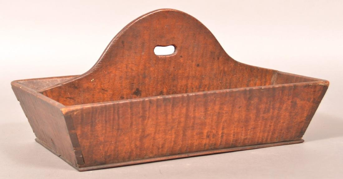 PA 19th Century Tiger Maple Cutlery Box.