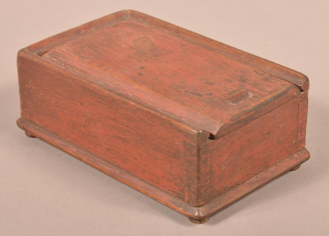 PA Early 19th Century Walnut Slide-lid Spice Box.