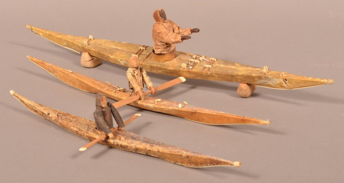 Three Antique Inuit Hide Covered Kayak Models.