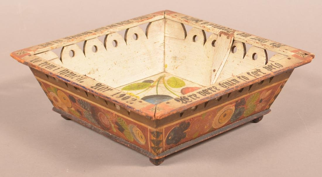 European Paint Decorated Basket Dated 1902.