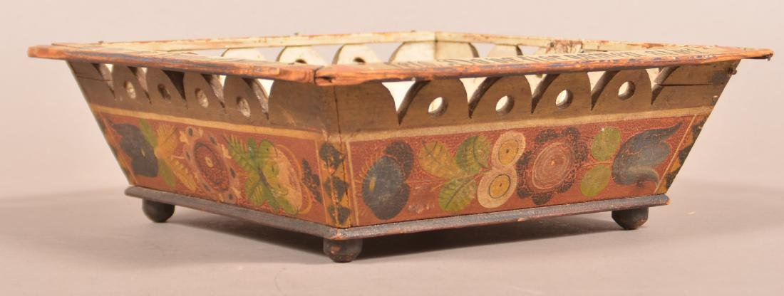 European Paint Decorated Basket Dated 1902. - 3