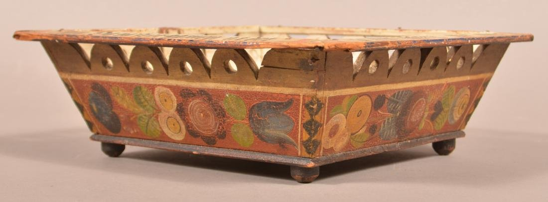 European Paint Decorated Basket Dated 1902. - 4