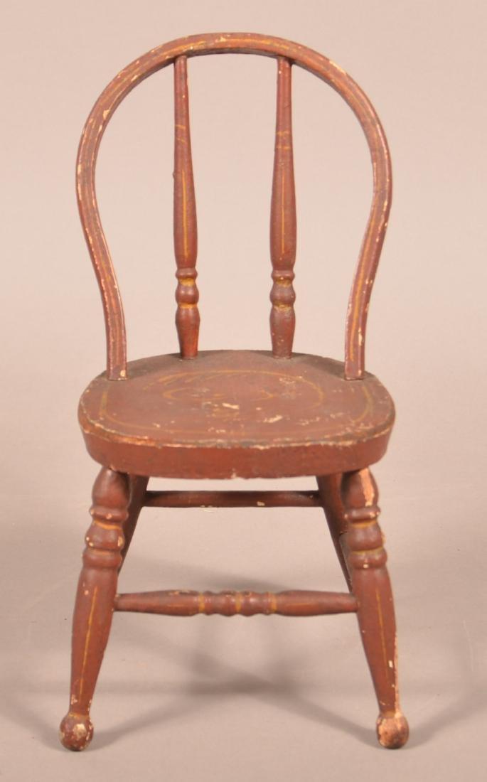 Antique Paint Decorated Miniature Sidechair.