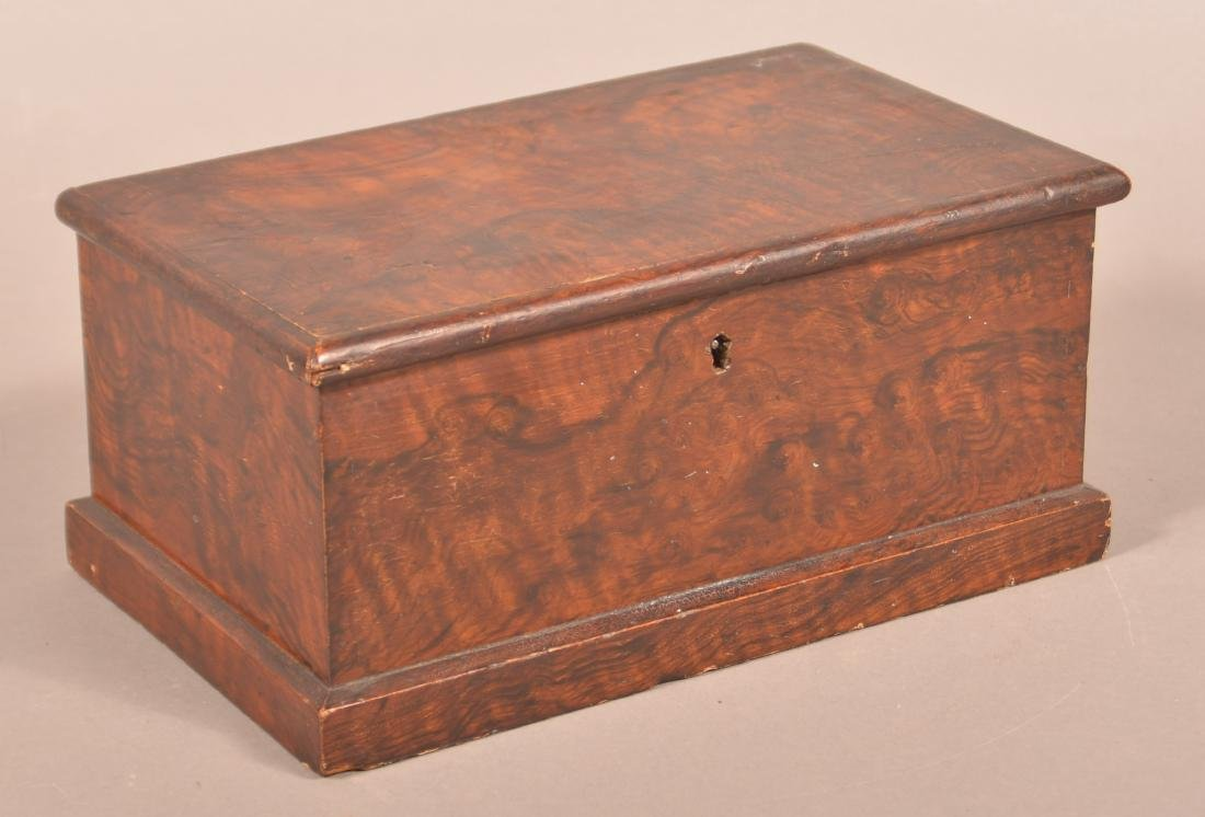 Faux Rosewood Paint Decorated Document Box.