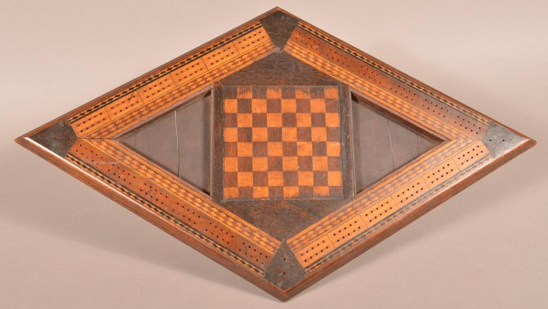 Antique Diamond Shaped Inlaid Game Board.