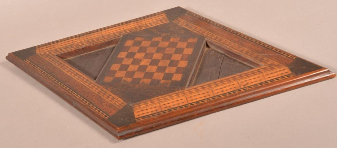 Antique Diamond Shaped Inlaid Game Board. - 2