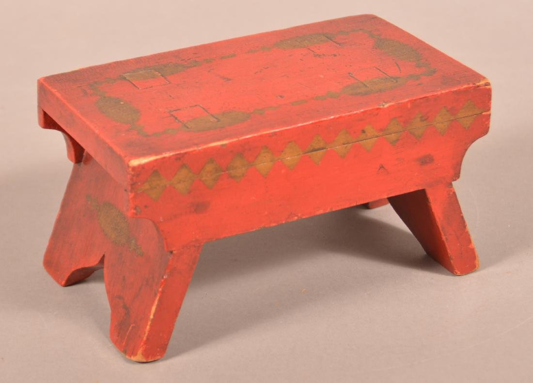 Antique Red Painted Wood Miniature Footstool.
