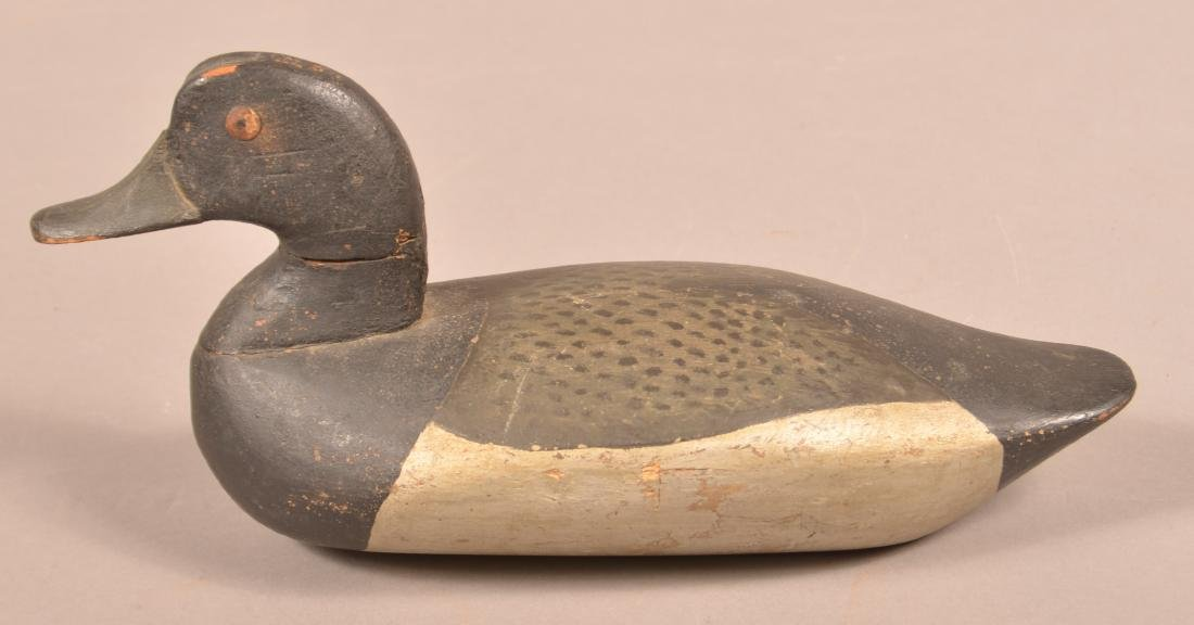 Carved and Painted Blue Bill Drake Decoy. - 2