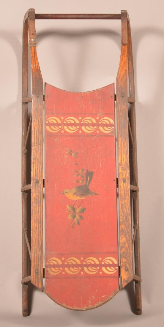 Antique Painted Wood Child's Sled.