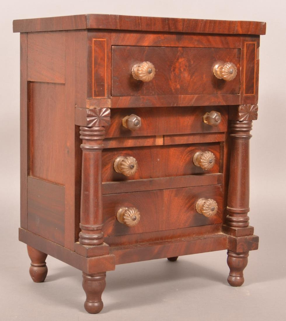PA Empire Mahogany Miniature Chest of Drawers.