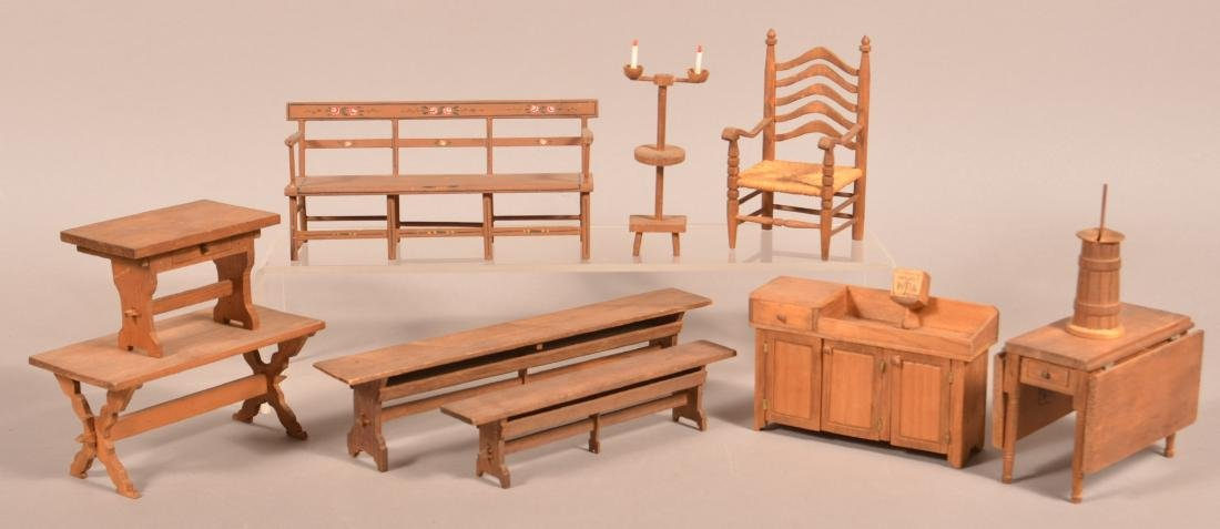 11 Pieces of WPA Made Miniature Furniture.