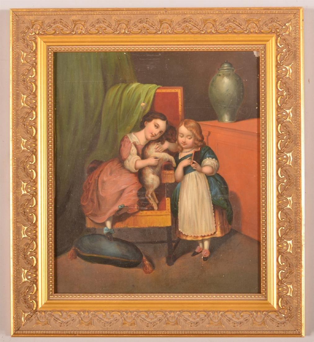 19th Century Interior Scene Painting on Tin.