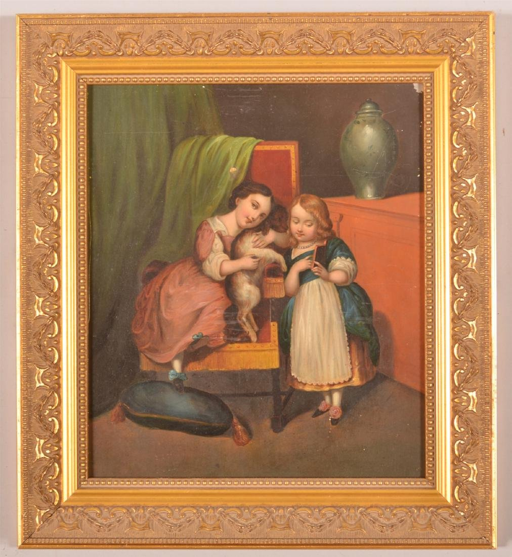 19th Century Interior Scene Painting on Tin.